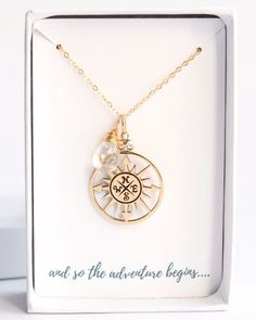 Gold Follow Your Dreams Compass Necklace would be a beautiful custom gift for a traveller or as a graduation gift for her.