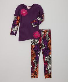 Take a look at this Purple Ribbed Tunic & Wild Flower Leggings - Toddler & Girls by Kash Ten on #zulily today!