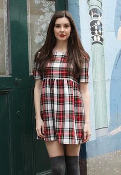 Red & White Tartan Smock Dress