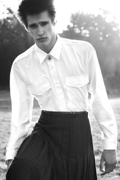 Photographed by Jiès Cléodore and Thibault Dlm Styled by Jonathan Bauer-Hayden Models Gianluca Albonico, Romeo Caminos S. Guys In Skirts, Boys Wearing Skirts, Beckham, Boyish Girl, Man Skirt, Men In Kilts, Androgynous Fashion, Dior, Costume