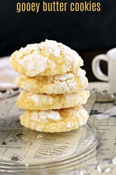Thick, moist, and flavorful describe these delicious Gooey Butter Cookies. Made from scratch, but I've got a cake mix option if you're in a pinch! Best Dessert Recipes, Sweets Recipes, Fun Desserts, Cookie Recipes, Delicious Desserts, Amazing Recipes, Yummy Recipes, Recipies, Gooey Butter Cookies