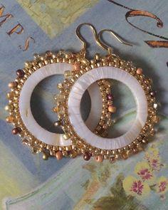 Beaded Mother of Pearl Earrings Large Seed Bead Earrings Beadwork Sea Shell Jewelry