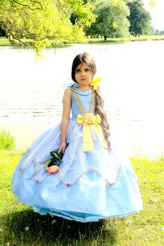 Girls Cinderella Costume Unique Blue by FriolinaFancyDesigns