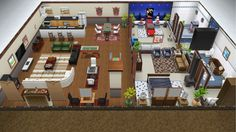 The Blake family Christmas vacation home - rear view of basement floor - in my Sims Freeplay