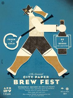 Poster for the Baltimore City Paper's 2013 Brew Fest.    by David Plunkert.