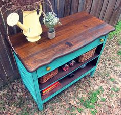 Love the dark wood color with the teal color! Would look great in my kitchen! Recycled dresser into a fun piece, painted furniture, repurposing upcycling Old Furniture, Refurbished Furniture, Repurposed Furniture, Furniture Projects, Furniture Makeover, Painted Furniture, Diy Projects, Dresser Furniture, Vintage Furniture