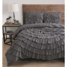 Elegant 3 Piece Queen Size Comforter Set Ruffle Bedding Bed Bedroom Decor New Luxury Comforter Sets Queen, Elegant Comforter Sets, Queen Comforter Sets, Ruffle Comforter, Grey Comforter, New Room, Bed Sheets, Bedroom Decor, Bedroom Ideas