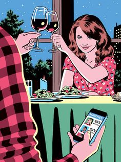 Ghost world meets adrian tomine, check out the spectacular r. Ghost World, Satirical Illustrations, Meaningful Pictures, Social Art, In Vino Veritas, Wow Art, Humor Grafico, Arte Pop, Online Dating