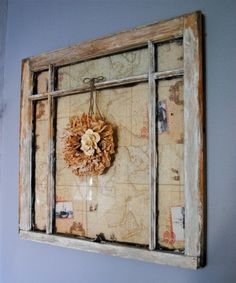 Window makeover with Mini Coffee Filter Wreath Old Window Frames, Window Art, Window Panes, Window Glass, Window Ideas, Do It Yourself Vintage, Do It Yourself Home, Old Window Projects, Diy Projects