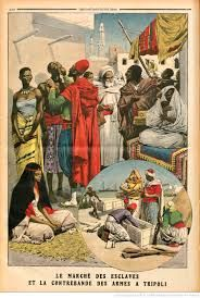 Slave market and contraband guns in Tripoli. Italy captured Tripolitania from the Ottoman Empire in the Italo-Turkish War of 1911-1912. Le marche des esclaves et la contrebande des armes a Tripoli. Illustration for Le Petit Journal, 15 October 1911.