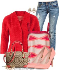 light red cardigan outfit love the red jacket/cardigan Winter Wedding Outfits, Spring Outfits, Business Casual Outfits, Classy Outfits, Mode Outfits, Fashion Outfits, Womens Fashion, Polyvore Outfits, Polyvore Fashion