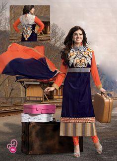#AyeshaTakia Blue Heavy Embroidery Neck #SalwarKameez  #craftshopsindia