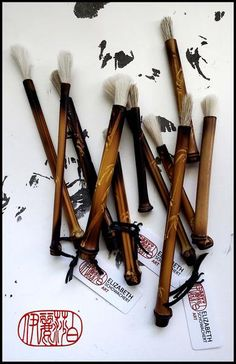 Sumi-e Brushes with Bamboo Handles and Goat Hair Bristles Sumi E Painting, Watercolor Paintings, Ink Paintings, Small Goat, Sumi Ink, Handmade Paint, Black And White Painting, Japanese Painting, Horse Hair