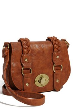 This is such a cute satchel! I think this looks better in brown, especially with the braid.  $24.00 Cesca Braid Trim Crossbody Bag