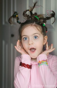 Crazy hair day at school idea: use pipe cleaners Crazy Hair Day At School, Crazy Hair Days, School Days, Little Girl Hairstyles, Hairstyles For School, Cool Hairstyles, Wacky Hair Days, Hair Dos, Portrait