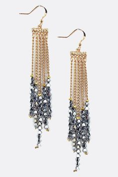 Chain and Chinese Crystal Earrings.