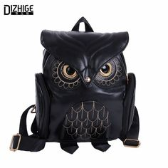 2937e0120003 Fashion Cute Owl Backpack Women Cartoon School Bags For Teenagers Girls PU Leather  Women Backpack 2016 Brands Mochila Sac A Dos-in Backpacks from Luggage ...