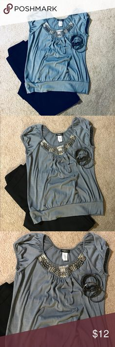 Grey colored top Blue grey colored top with a jeweled neckline. Pre-loved. Please feel free to ask any questions. Accessories not included. Perception Concept Tops