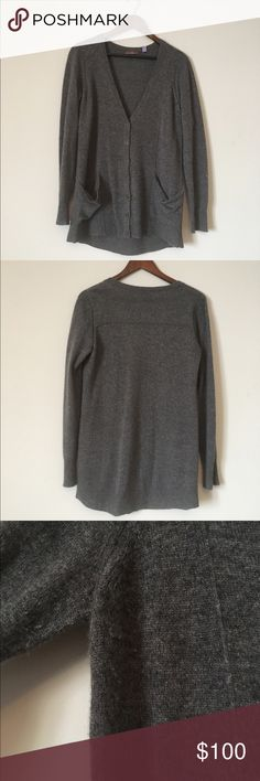 100% cashmere grey boyfriend cardigan Cullen 100% cashmere dark gray boyfriend style cardigan. Deep V neck with slouchy front pockets. EUC with very very slight piling (see pic 4). SIZE SMALL (but could fit medium if you want more fitted). Dry clean only. Cullen Sweaters Cardigans