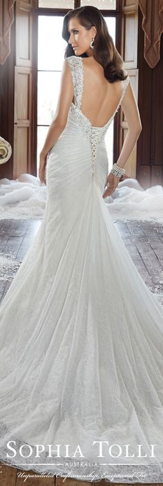 The Sophia Tolli Fall 2015 Wedding Dress Collection - Style No. Y21504 sophiatolli.com #laceweddingdress
