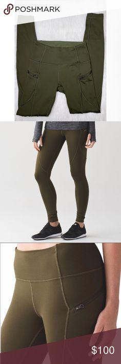 7d128891825f Lululemon First Mile Tech Legging Olive Green Sz 4 Up for sale Lululemon  First Mile Tech