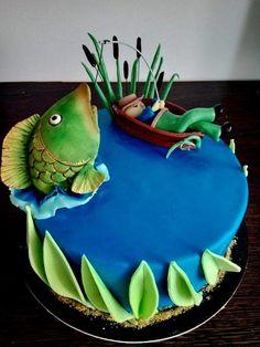 Fishing cake by Nicoleta Fish Cake Birthday, Birthday Cakes For Men, Man Birthday, Birthday Wishes, Fisherman Cake, Cupcake Cakes, Cupcakes, Ice Fishing, Bass Fishing