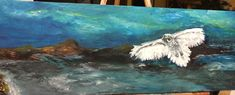 PAINTING Snowy White Owl in Flight Fine Art Acrylics Recycled Canvas Waterscape Picture Dreamscape Ocean Wall Hanging Fantasy Art Original