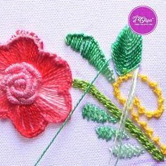 Hand Embroidery Patterns Flowers, Hand Embroidery Videos, Embroidery Stitches Tutorial, Embroidery Flowers Pattern, Hand Embroidery Designs, Crewel Embroidery, Ribbon Embroidery, Machine Embroidery, Creative Embroidery