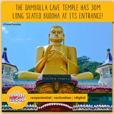 #TravelTuesday The Dambulla Cave Temple in Sri Lanka, also known as the Golden Temple of Dambulla is situated under a huge overhanging rock that stands about 160 meters high. The site has five major caves which consist of 153 Buddha statues! #WOWEvents