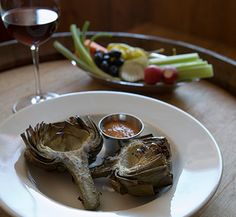 epicure.sb ~ Grilled Artichokes with Spicy Smoked Tomato Mayonnaise Recipe - Hitching Post Restaurant