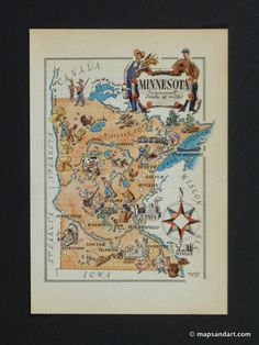 find old state maps / Minnesota 1946 Pictorial