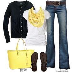 A great transitional outfit from summer to fall:) Yellow, yellow, yellow:)