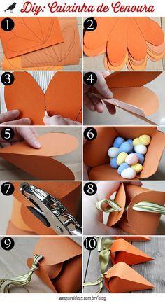 Confira como fazer uma caixinha em forma de cenoura para presentear os amigos e as crianças nessa páscoa sem gastar muito.