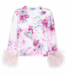 Exclusive to mytheresa.com – feather-trimmed printed mohair and wool cardigan | Prada