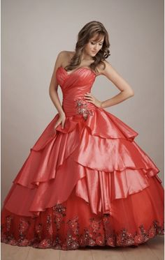 Reasonable watermelon Ball Gown Floor-length Taffeta Sweetheart Dress With Appliques