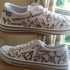 Hand painted Harry Potter inspired minimalist Converse lows. (Unofficial) Shoes have various Harry Potter related images painted on, if theres any specific quotes/spells/character names you would like on the shoes instead of the ones in the pictures just send them along in a message when you order the shoes. every pair of shoes is made to order, so therefore may differ slightly from the picture. the shoes shown in the picture are cheaper branded canvas shoes, Converse are also available…