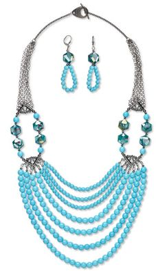 Multi-Strand Necklace and Earring Set with Magnesite Gemstone Beads, Millefiori Glass Beads and Gunmetal-Plated Brass Chain