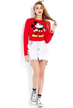 Cropped Mickey Mouse Sweater   FOREVER 21 - 2000065932
