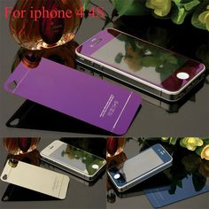 2pcs Front+Back Mirror Colorful Tempered Glass Protective Film For iPhone 4 4s 5 5s Full Cover Screen Protector