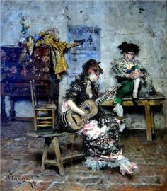A Guitar Player: 1873 by Giovanni Boldini (Sterling and Francine Clark Art Institute at Williamstown, MA) - Impressionism