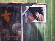 Mouser caught my eye sitting in an old barn by WatercolorDreamsArt, $35.00