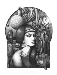 """Cleopatra"" ball point pen and ink illustration. It's an example of one of my retro futuristic pieces. It's influenced by diesel-punk deco-punk and film. Retro Futuristic, Ink Illustrations, Dieselpunk, Cleopatra, Deviantart, Fantasy, Black And White, Bristol, Artist"
