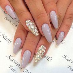 Kawaii Nails   Lavender Squoval Nails w/ Rhinestones