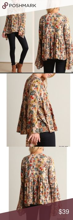 NWT beautiful olive floral print blouse. Large NWT Taupe mix floral print button front blouse with elegant bell sleeves. Non-sheer. Lightweight. Easy relaxed fit. Super soft and very pretty color mixture. Large  Bust 44 Length 27 Tops Blouses