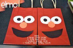 sesame street birthday favor bags. |