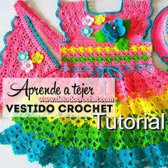 Vestido para niña tejido con crochet con diseño de 4 olanes paso a paso en video