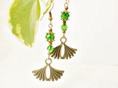 #Peridotcrystal drop #elegant #artdeco earrings, #vintage style #limegreen #teardrop ear jewelry, art nouveau #earrings by 10dollarjewellery on Etsy