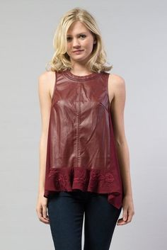 Faux Leather and Chiffon Sleeveless Top