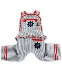 Ships Ahoy Embroidered Jumper Overalls - navy/red