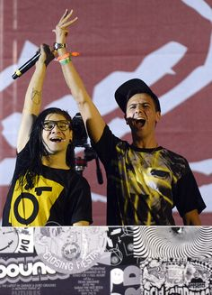 How much fun do Boys Noize and Skrillex look like they're having at Coachella day one?